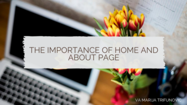The importance of home and about page